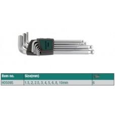 Набор ключей шестигранных ROSSVIK, 9пр длинные с шаром H0509S